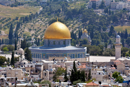 temple mount: Aerial view of the Dome of the Rock Mosque on Temple Mount  against mount of Olives in Jerusalem old city Israel.