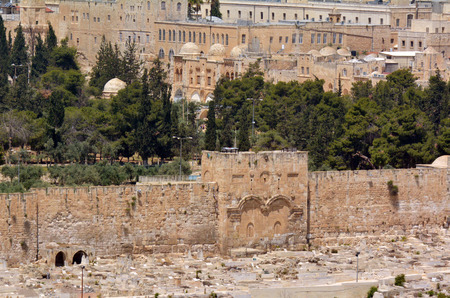 anointed: The Golden Gate in Jerusalem Old City Walls Israel. According to Jewish tradition the Divine Presence will appear again when the Anointed One Messiah comes.