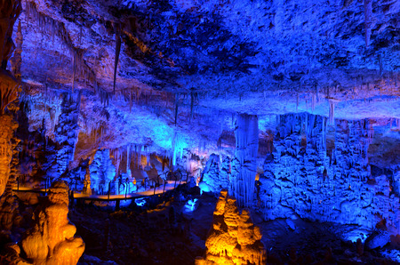nature reserves of israel: Soreq Avshalom Cave located in the Judean Mountains Israel.