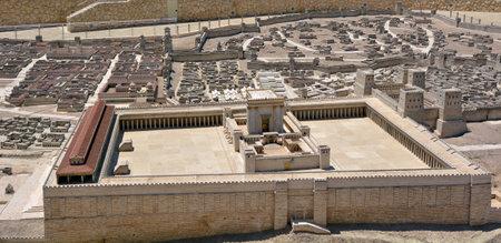templo: JERUSAL�N - 19 de marzo 2015: Segundo Modelo Templo de la antigua Jerusal�n, la escatolog�a Israel.Jewish incluye la creencia de que el Segundo Templo, a su vez ser reemplazada por un futuro Tercer Templo.