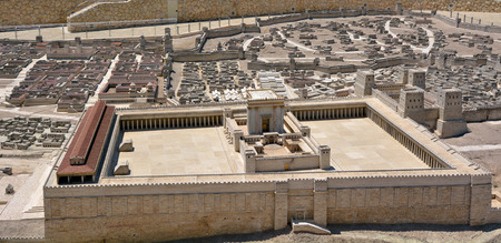 replaced: JERUSALEM - MAR 19 2015:Second Temple Model of the ancient in Jerusalem, Israel.Jewish eschatology includes a belief that the Second Temple will in turn be replaced by a future Third Temple. Editorial