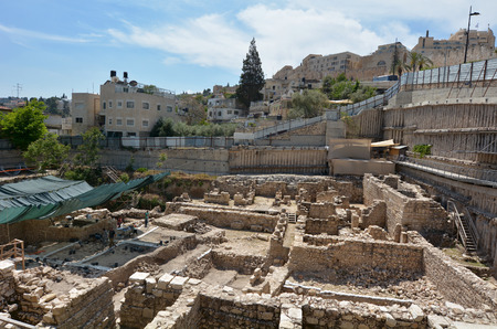 JERUSALEM - MAY 05 2015: City of David, Jerusalem - Israel.Its a tourists attraction of archaeological site that some archaeologists suggest to be ancient Jerusalem of the pre-Babylonian exile era. Editorial
