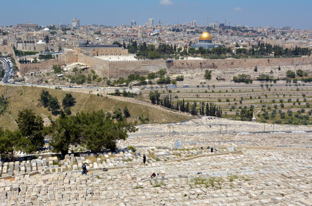 JERUSALEM-MAR 19 2015:Mount of Olives Jewish Cemetery.ItÕs the most ancient and important cemetery in Israel since First Temple Period It contains 70,000 tombs some of famous figures in Jewish history