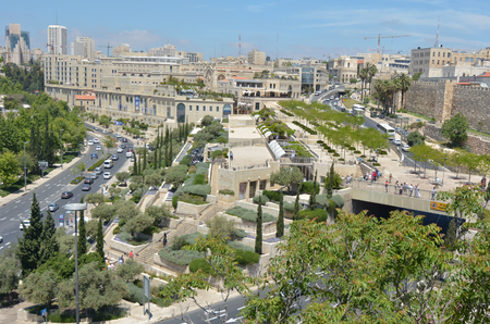 JERUSALEM, ISR - MAY 04 2015:Aerial view of Mamilla shopping mall in Jerusalem, Israel.It's  is an upscale shopping street and the only open-air mall in Jerusalem, Israel.