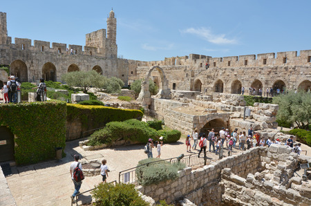 JERUSALEM - MAY 05 2015:Visitors at the Tower of David and archeological garden in Jerusalem, Israel.Its a famous landmark of Jerusalem with historical and archaeological significant. Editorial