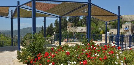 judean hills: JERUSALEM, ISR - MAR 19 2015:Visitor in Ein Kerem village in Jerusalem, Israel. According to Christian tradition, John the Baptist was born in Ein Karem.