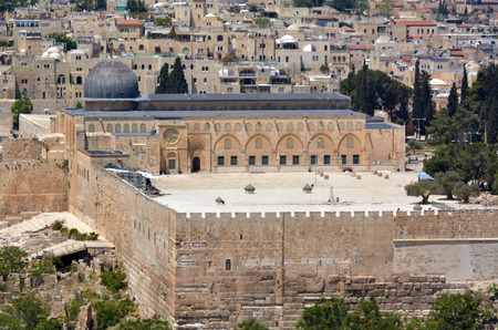 holyland: JERUSALEM, ISR - MAY 05 2015:Aerial view of Al Aqsa mosque on temple mount in Jerusalem, Israel. Al Aqsa Mosque is the third holiest site in Islam and attracts Muslims from around the world.