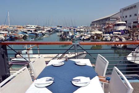 jaffa: Restaurant table set at the old port of Jaffa in Tel Aviv Jaffa, Israel. Editorial