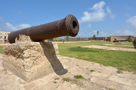 akko: Old cannons on the walls of Acre Akko old city port, Israel