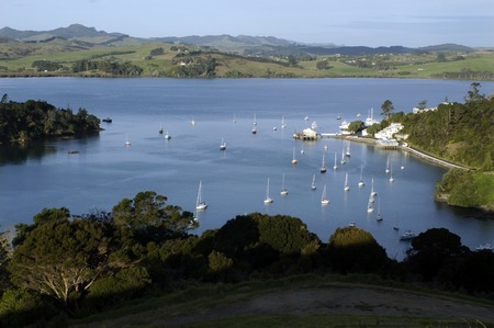 inlet bay: Aerial view of Mill Bay and the town of Mangonui, Northland, New Zealand.