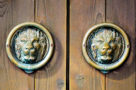 knobs: Chinese lions Knobs and Knockers. Stock Photo