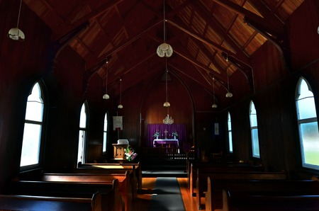 interrior: The interrior of St Barnabas Anglican Church, situated in Peria Valley in Northland, New Zealand.