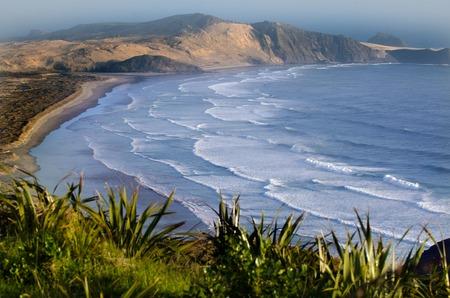 Te Werahi strand aan de rand van de Northland, Nieuw-Zeeland.