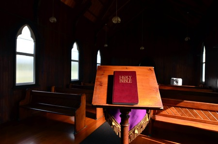 barnabas: The Holy Bible in St Barnabas Anglican Church, situated in Peria Valley in Northland, New Zealand.