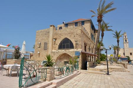 yaffo: Cityscape of Kikar Kedumim street,at the old port of Jaffa in Tel Aviv Jaffa, Israel. Stock Photo