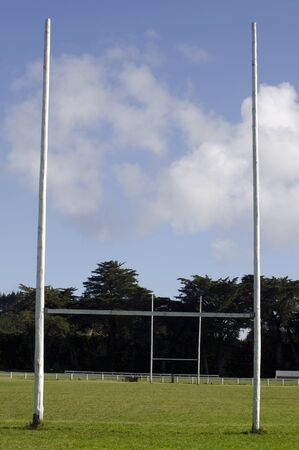 rugby field: Two Poles of a Football  Rugby Goal field. Stock Photo