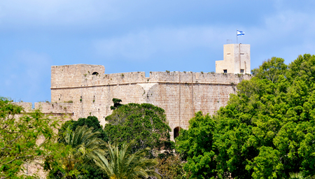 akko: Acre Tower in Acre Akko walls of the old city port - Israel Stock Photo