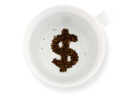 coffee grounds: Coffee grounds in coffee mug, reads the future for money.Concept photo of future fortune telling about receiving money. Isolated on white with copy space Stock Photo