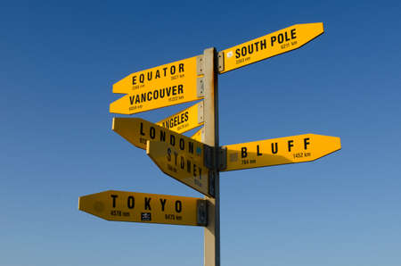 reinga: Directions to the world in Cape Reinga at the edge of the northland of New Zealand. Stock Photo