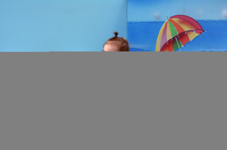 01: Little baby (girl age 01) play in indoor soft baby playground centre. Baby healthcare concept Stock Photo