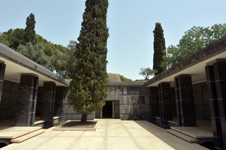 zionism: ZIKHRON, ISR - APR 20 2015:Rothschild family tomb crypt in Ramat Hanadiv in Zikhron Yaakov, Israel.Its the burial place of Edmond James de Rothschild and his wife.