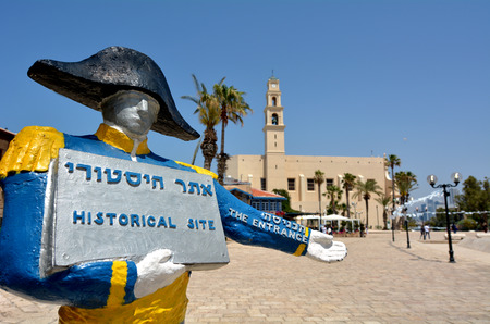 welcom: TEL AVIV, ISR - MAR 24 2015:Sculpture of Nnapoleon bonaparteat welcom visitors at the old port of Jaffa in Tel Aviv Jaffa, Israel.Napoleon Bonaparte conquest the coastal town Jaffa from the Ottoman Empire in 1799. Editorial