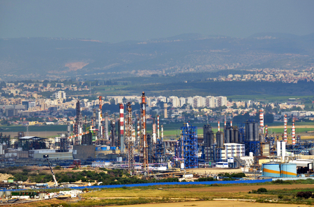 haifa: HAIFA, ISR - APR 21 2015:Oil Refineries Ltd in Haifa, Israel.Its vast petrochemical plants have released significant amounts of pollution to the environment around Haifa Bay.