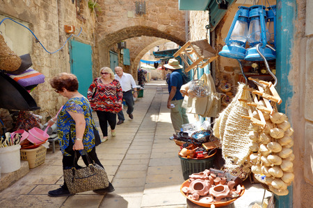 acre: ACRE, ISR - APR 21 2015:People shopping at acre old market in Akko, Israel. Acre is one of the oldest continuously inhabited sites in the world.