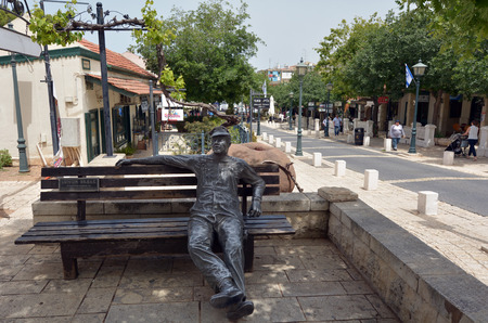 settlements: ZIKHRON, ISR - APR 20 2015:HaMeyasdim Street in Zikhron Yaakov, Israel. It was one of the first Jewish settlements of Halutzim in the country, founded in 1882 by Baron Edmond James de Rothschild.