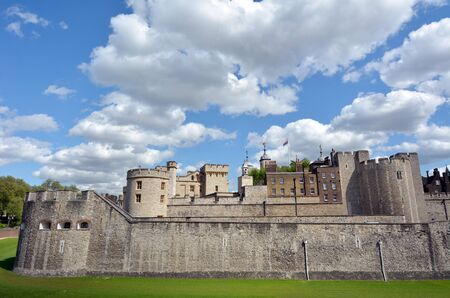 hamlets: The outer curtain wall of The Tower of London in City of London, UK. Editorial