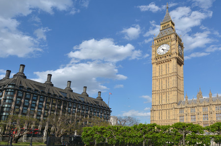 portcullis: The Big Ben clock tower on Elizabeth Tower of Palace of Westminster and Portcullis House in London, UK. Editorial