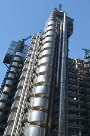 lloyd's of london: LONDON - MAY 13 2015:Lloyds Building in City of London, UK.Its Lloyds insurance headquarter also knowen as the �inside-out� building as its lifts, staircases and most of the piping exposed outside. Editorial