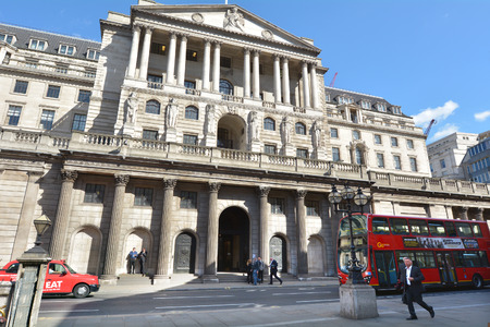LONDON - MAR 18 2015:Bank of England Headquarters in City of London, UK.Established in 1694, its the second oldest central bank in the world, after the Sveriges Riksbank (Swedish National Bank)