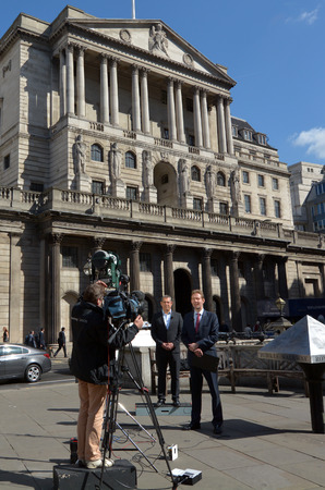 central bank: LONDON, UK - MAR 18 2015:TV crew at the Bank of England Central Bank Headquarters in City of London, UK.