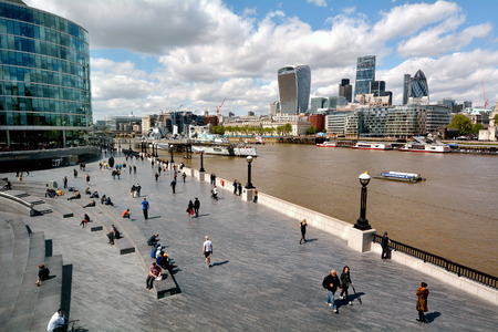 southbank: LONDON -  MAY 14 2015:Aerial view of Queens South Bank Walk London.Its a sightseeing walk for tourists and visitors follows the River Thames Southbank path from Westminster Bridge to Tower Bridge. Editorial