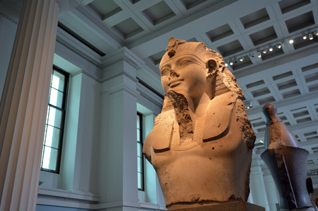 colossal: LONDON - MAY 15 2015: Colossal bust of Ramesses II 1250 BC in the British Museumin London UK.The Museum contain special antiques taken from Greece, Rome, Egypt, and many different countries.