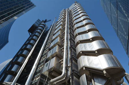 lloyds london: LONDON - MAY 13 2015:Lloyds Building in City of London, UK.Its Lloyds insurance headquarter also knowen as the �inside-out� building as its lifts, staircases and most of the piping exposed outside. Editorial