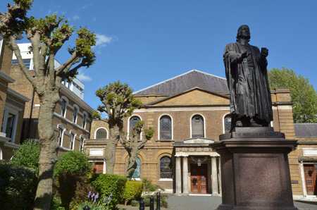 LONDON, UK - MAY 13 2015:Wesley's Chapel and Leysian Mission London UK. Wesley's Chapel is a Methodist church in London which was built by John Wesley, the founder of the Methodist movement. 新闻类图片