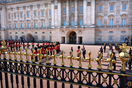 buckingham palace: LONDON - MAY 13 2015:Aerial view of Changing the Queen Guards ceremony at Buckingham Palace. Its one of most popular tourist attractions in London, UK