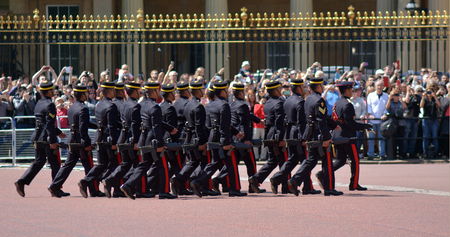 worcestershire: LONDON - MAY 13 2015:Sentries of the Worcestershire and Sherwood Foresters Regiment being posted at Buckingham Palace.Buckingham Palace is the official London residence of British monarchy since 1837. Editorial
