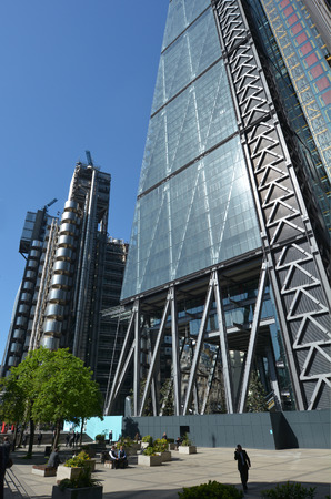architectural firm: LONDON, UK - MAY 13 2015:122 Leadenhall Street tower and Lloyds building in City of London, UK. Both designed by the awarded British architectural firm Rogers Stirk Harbour and Partners. Editorial