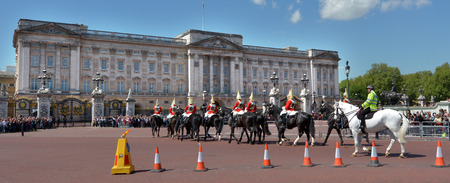 buckingham palace: LONDON - MAY 13 2015:Changing the Guards ceremony at Buckingham Palace. Buckingham Palace has been the official London residence of Britains sovereigns since 1837. Editorial