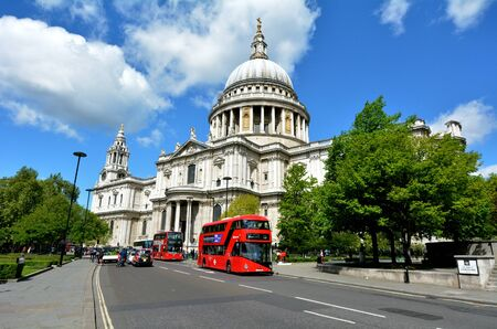 possesses: LONDON, UK - MAY 12 2015:St Pauls Cathedral London England, UK.The cathedral is one of the most famous and most recognisable sights of London.St Pauls also possesses Europe largest crypt. Editorial