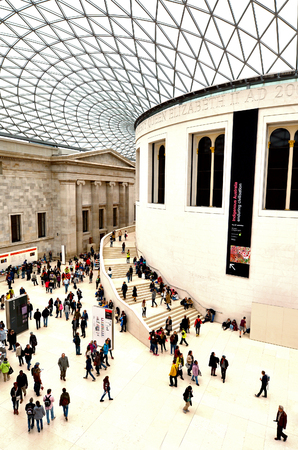 queen elizabeth ii: LONDON - MAY 15 2015:Visitors in Queen Elizabeth II Great Court of the of the British Museum London.About 7 million people visit the British Museum a year.