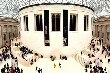 british people: LONDON - MAY 15 2015:Visitors in Queen Elizabeth II Great Court of the of the British Museum London.About 7 million people visit the British Museum a year.