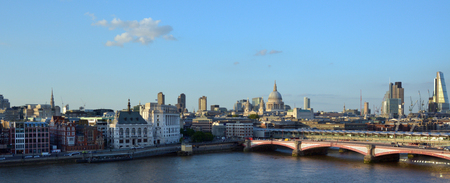 st   pauls cathedral: LONDON, UK - MAY 15 2015:Aerial panoramic view of St Pauls Cathedral and London bridge with City of London skyline. The City of London is a city and ceremonial county within London.