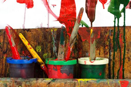 children painting: Colors, painting and drawing of little children. Stock Photo
