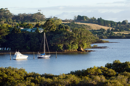 remoteness: Yachts rest on Kerikeri inlet, Northland New Zealand. Stock Photo