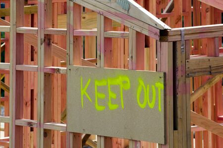 short order: KEEP OUT - Construction area warning sign. Stock Photo