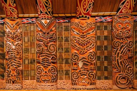 wood carvings: Traditional Maori Wood Carvings in Meeting House .